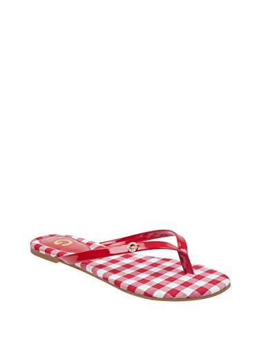 G by GUESS Women's Bayla Gingham Thong Sandals (Patent Guess Sandals Leather)