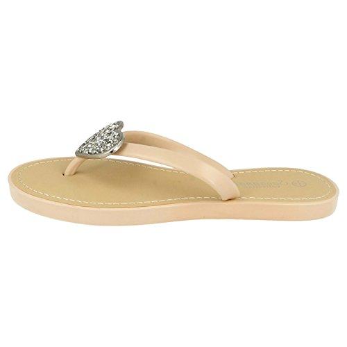 Womens Heart Nude Flip Savannah Ivory Sparkling Toe Open Ladies Flops OqxdXwA