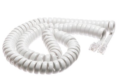 White Coiled Telephone Handset Cord - 12 Foot Standard Length - 1.5 Inch Flat Leader - Heavy Duty - Universal - GUARANTEED for life - Coiled Telephone Handset Cord 12 FT