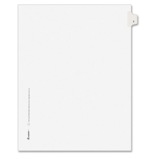 Avery Individual Legal Exhibit Dividers, Avery Style, 2, Side Tab, 8.5 x 11 inches, Pack of 25 (11912), White ()