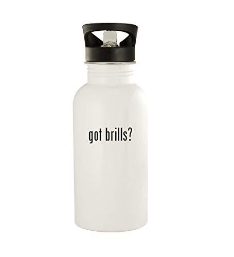 got brills? - 20oz Stainless Steel Water Bottle, White (Nerd Brille Rund)