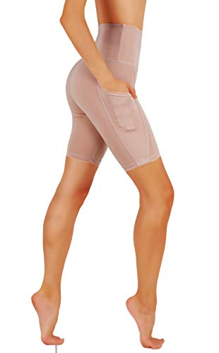 CodeFit High Waist Out Pocket Yoga Short Tummy Control Dry-Fit Non See-Through Yoga Shorts (L CF03/BS-ROS) (Best Shorts For Squats)