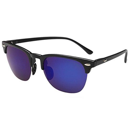 Evebright Men's Vintage Flat Matte Reflective Revo Color Lens Polarized Sunglasses - Uv400