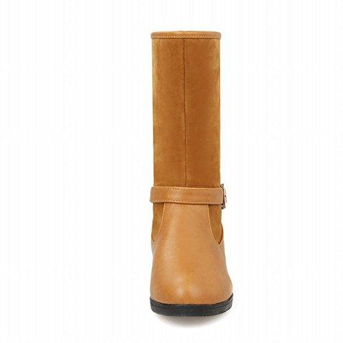 Carolbar Womens Fashion Retro Simple Comfort Casual Buckle Low Heel Short Boots Yellow 9JLepZ3P