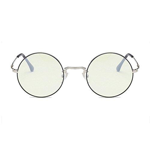 Aoligei Métalliques étudiants avec miroir Tee-off lunettes cadre rond minimaliste de fan art mâles et femelles D