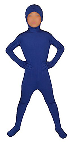 Seeksmile Kids Costume Full Body Lycra Zentai Suit Face Open (Kids Medium, Royal Blue)