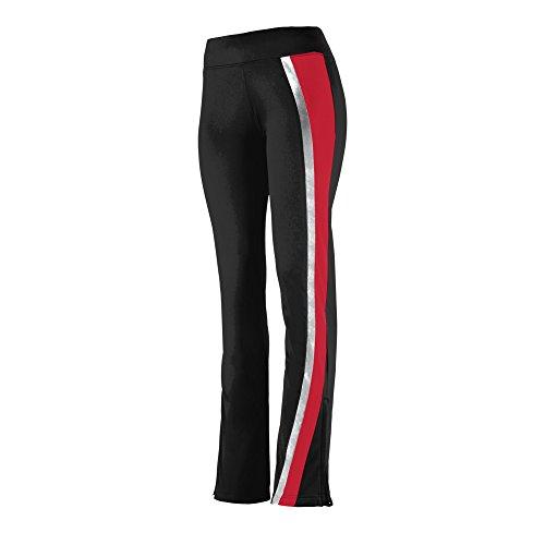 Tricot Girls Brushed Pant - Augusta Sportswear 7738 Girls' Aurora Pant, Small, Black/Red/Metallic Silver