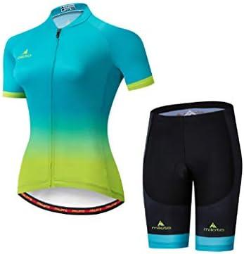 女性用フルジップ半袖サイクリングスーツ通気性クイックドライジャージシャツ+ジェルパッド入りショートパンツ快適なMTBロードバイクサイクリングウェアスポーツウェア