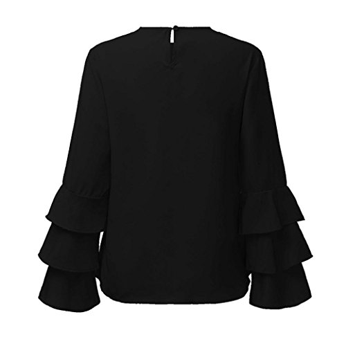 Manches Cou Longues Brod Blouse rond Amlaiworld Femmes 4vvwqI