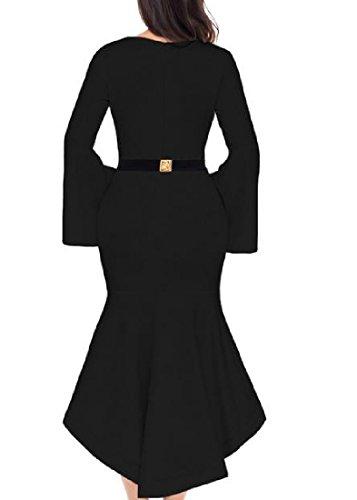 Confortables Manches Flare Col Rond Ourlet Irrégulier Femmes Robe Moulante Noire De