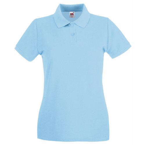 Fruit Of The Loom Lady-Fit Premium Polo Shirt XXL,Sky Blue