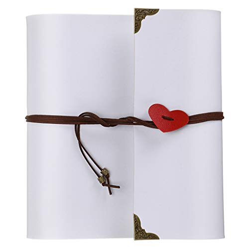 OwnMy DIY Photo Album Scrapbook PU Leather Adventure Photo Book with Corner Stickers Gifted Box - Perfect Baby Memory Book Birthday Wedding Anniversary (White)