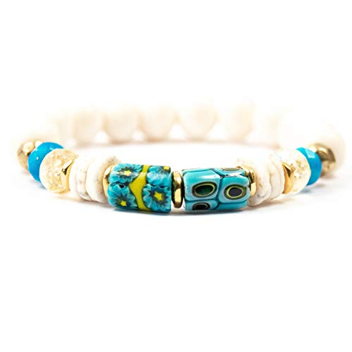 (Turquoise Antique Millefiori Glass Bead Bracelet with Blue Jade & Citrine - 7 Inches Long Handmade African Trade Bead Elastic Bracelet by Miller Mae Designs)