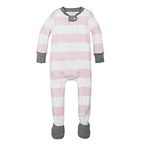 Burt's Bees Baby Unisex Baby Organic Front Zip Sleeper, Blossom Rugby Stripe, Newborn - Girls Pink Sleeper