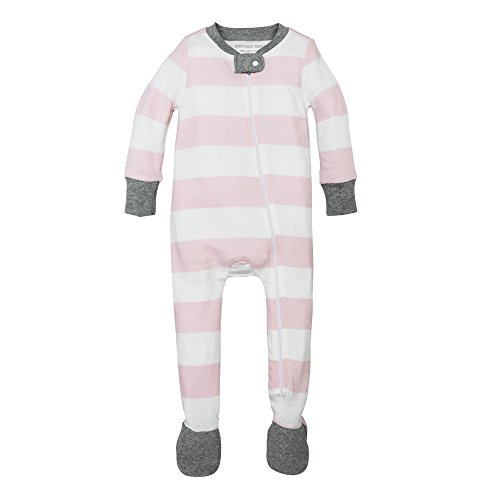 Burt's Bees Baby Unisex Baby Organic Front Zip Sleeper, Blossom Rugby Stripe, Newborn
