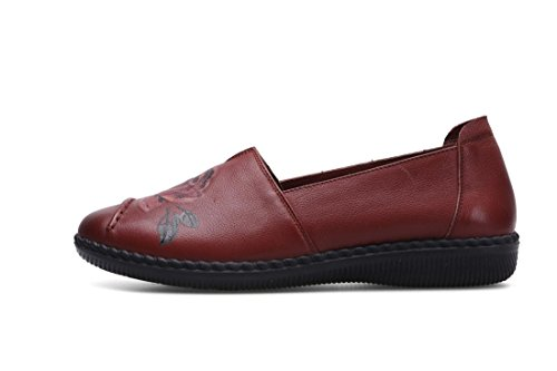 New Donne 38 uk Pompe Morbido 5 Brown Partito 5 Rosso Loafer Genuino Leisure Bottone Nvxie Di Cuoio Eur Pattini Marrone Comfort eur38uk55 Singoli Antiscivolo Primavera Nero Autunno 1d7BIw