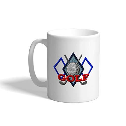 (Ceramic Funny Coffee Mug Coffee Cup Sport Golf Vintage Diamonds 2 White Tea Cup 11 Ounces)