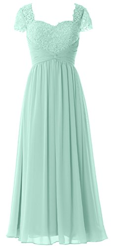 MACloth Women Cap Sleeves Mother of Bride Dress Lace Chiffon Evening Formal Gown Aqua
