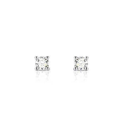 Tousmesbijoux Boucles d'oreilles puces Diamants et Or blanc 375/00