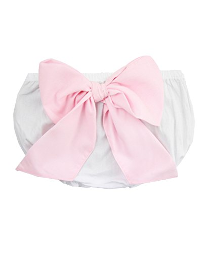 RuffleButts Baby/Toddler Girls White Bow-Back Bloomer - 0-3m (Bow Bloomers)
