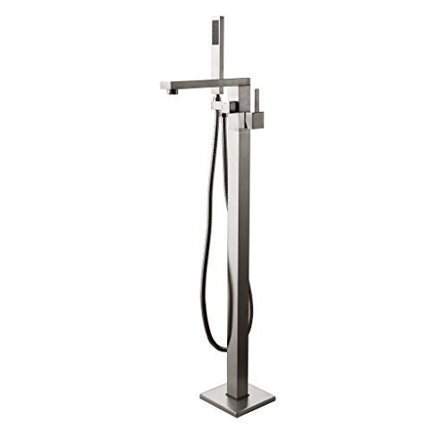 JiaYouJia Brushed Nickel Freestanding Tub Filler Floor Standing Bathtub Faucet (Brushed Nickel) by JiaYouJia