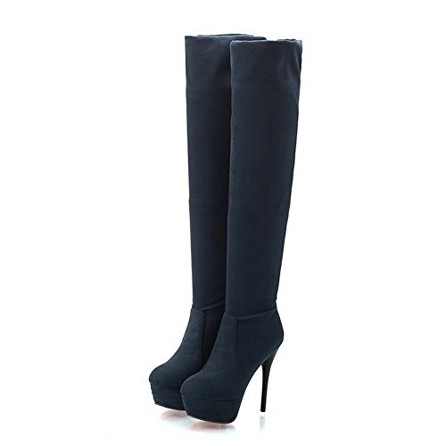 BalaMasa Womens Platform Stiletto Pull-On Frosted Boots Blue 45t8ZBU5