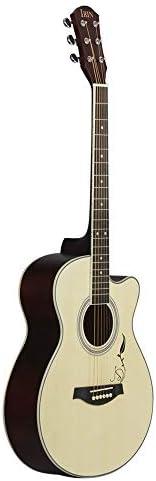 アコースティックギター フォークギターは、カットアウトスプルースフォークギター初心者の彫刻しました 小学生 大人用 ギター初級 (色 : Natural, Size : 40 inches)