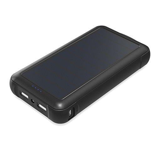 Aukey Cargador Solar de 20000 mAh con SunPower paneles solares y salida USB Dual para iPad, iPhone, Samsung, gps, Go Pro...