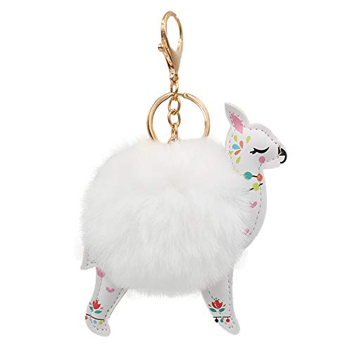 (REAL SIC Alpaca/Llama Pom Pom Keychain - Faux Fur Fluffy Fuzzy Charm For Women & Girls. Fake Rabbit Key Ring for Backpacks, Purses, Bags or Gifts (White))
