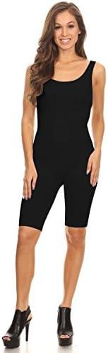 Women Sleeveless Stretch Cotton Skinny Solid Knee Length Sport Active Unitard Bodysuit