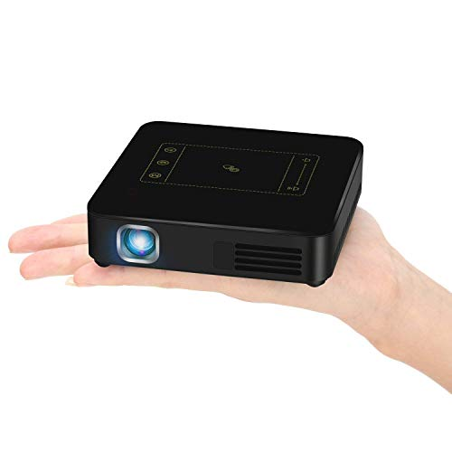 CANGSIKI Android 7.1.2 Portable Mini Video Projector Pico DLP LED Pocket Home Theater Projector with Wireless Airplay Miracast Bluetooth Wifi USB HDMI 4K Auto Keystone Correction(Black)