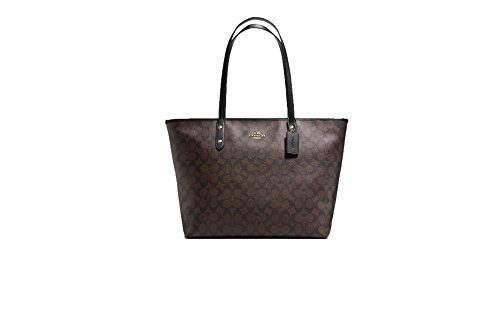 Coach Large City Zip Tote Signature Coated F14929 Brown Black