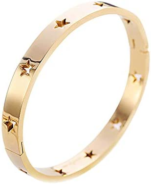 Binchil Punk Titanium Stainless Steel Stars Bangle for Women No Fading Hollow Pentagram Cuff Bracelets /& Bangles Gifts Pulseira(Rose Gold)