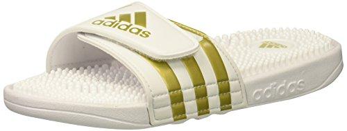 adidas Men's Adissage Sport Sandal, White, Gold Met, White, 10 M US