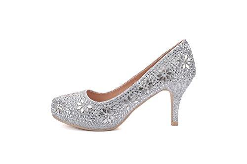 Mila Pumps Crystal Wedding Shoes Heels Dress Lady Princess Gem Evening Rhinestone Cinderella Formal Mayra06 Glitter Silver Sparkle rSrwv4q