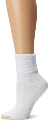 Gold Toe Women's 3-Pack Wimbledon Athletic Turn-Cuff Sock, White 3-Pack,sock size 9-11