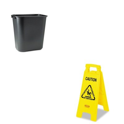 KITRCP295600BKRCP611200YW - Value Kit - Rubbermaid-Yellow Folding Floor Signs (RCP611200YW) and Rubbermaid-Black Soft Molded Plastic Wastebasket, 28 1/8 Quart ()