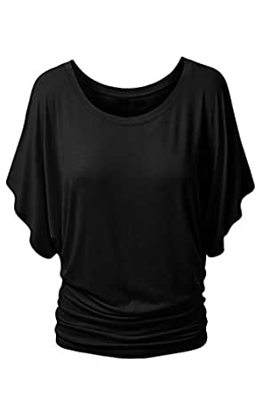 Viottis Women's Casual Wide Dolman Sleeve Solid Color Blouse Tops Black S
