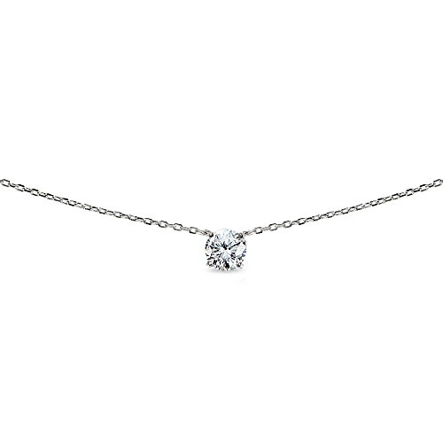 LOVVE Sterling Silver Round-cut Cubic Zirconia Solitaire Choker Necklace for Teens or Women