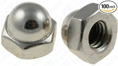 100 #8-32 X 5/16' Steel Acorn Cap Nuts - Nickel Plated