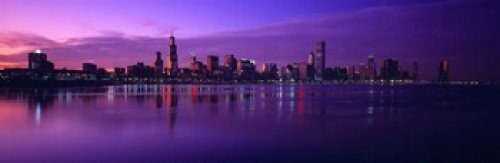 Buildings at the waterfront lit up at dusk Sears Tower Hancock Building Lake Michigan Chicago Cook County Illinois USA Poster Print (36 x 12)