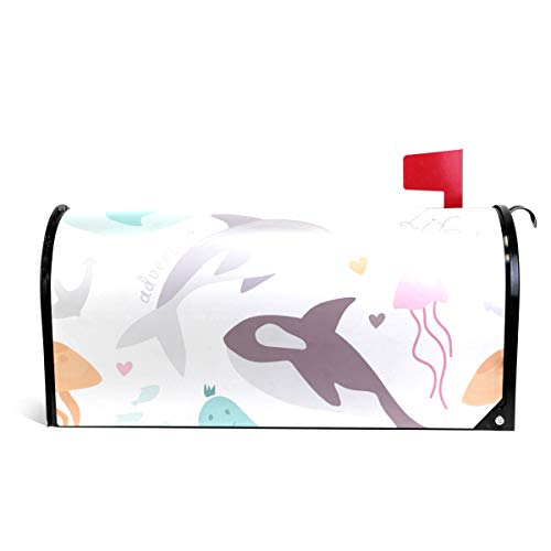 senya Home Garden White Sea Life Animals Pattern Magnetic Mailbox Cover Standard -