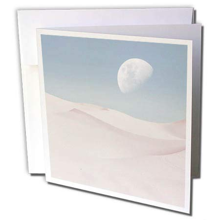3dRose Andrea Haase Nature Photography - Surreal Desert Scenery with Full Moon in Soft Pastel Colors - 1 Greeting Card with Envelope (gc_288967_5) (Pastel 1 Soft)