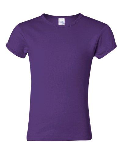Bella Girl Baby Rib Short Sleeve Crew Neck T-Shirt. 9001 - Medium - Purple