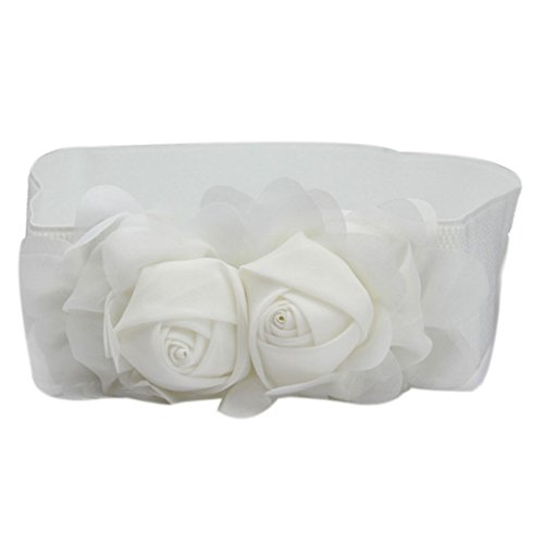 Voberry Women Fashion Double Rose Flower Buckle Elastic Waist Belt Waistband (White)
