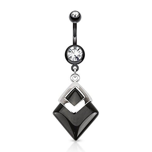 (Black Agate Diamond Shaped Semi Precious Stone Mounted 316L Surgical Steel Belly Button Ring)