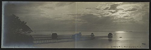 1908 Photo Sunset, Clearwater, Fla. Postcard shows piers at sunset in Clearwater, Florida. Location: Clearwater, Florida ()
