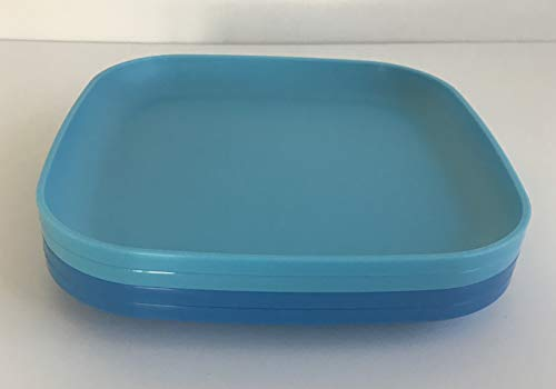 Tupperware 8 Inch Square Plates 4, Blue