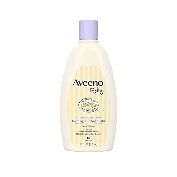 Kerrian Online Fashions 31psCQCWb7L Aveeno Baby Calming Comfort Bath with Relaxing Lavender & Vanilla Scents, Hypoallergenic & Tear-Free Formula, Paraben- & Phthalate-Free, 18 Fl Oz (Pack of 1)