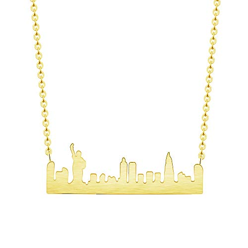 GATTVICT Statue of Liberty bar Necklace,NYC Skyline bar Necklace with Statue of Liberty, Horizontal bar Necklace,City Necklace,Gift idea (Gold)